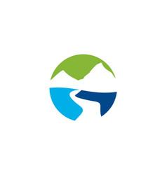 mountain river logo vector image