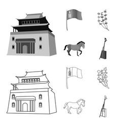 National flag horse musical instrument steppe vector