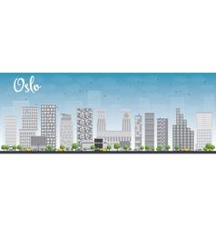 Oslo skyline with grey building vector