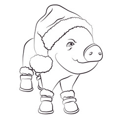 pig wearing santa hat outline icon editable vector image