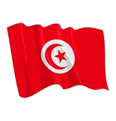 political waving flag of tunisia vector image
