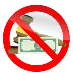 Prohibition corruption in court symbol vector