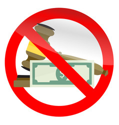 prohibition of corruption in court symbol vector image