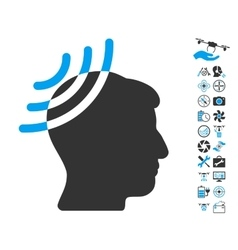 Radio Reception Head Icon With Air Drone Tools vector