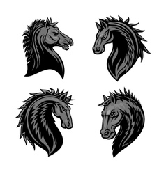 Raging stallion head heraldic icons set vector image