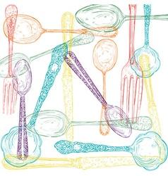 Retro cutlery sketch style set vector