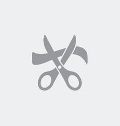 scissors cutting ribbon - icon vector image