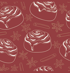 Seamless pattern with cinnamon rolls and spices vector