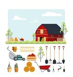 Set farm tools flat- Garden vector