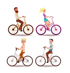 set of people ride a bicycle vector image