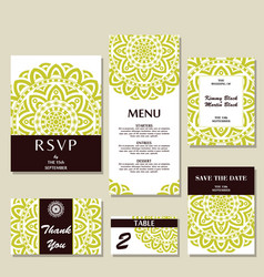 Set of wedding invitations wedding cards template vector