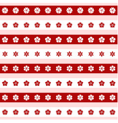 set red and white flower icons vector image