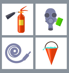 set with icons of special firefighting equipment vector image vector image