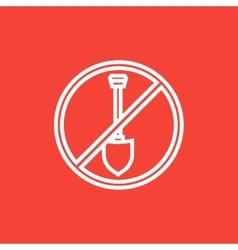 Shovel forbidden sign line icon vector