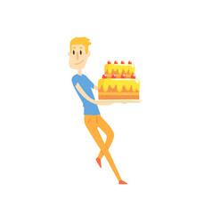 smiling young man holding big festive cake cartoon vector image