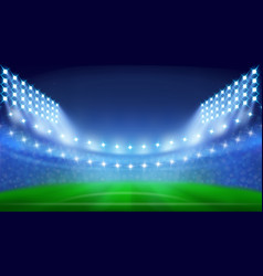 Soccer stadium with glowing lamps in night vector