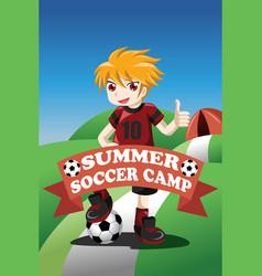 Soccer summer camp poster vector