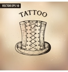 Steampunk tattoo hat vector image