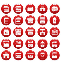 street food kiosk icons set vetor red vector image