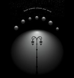 Street light lamppost under seven planets vector