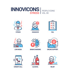 stress concept line design style icons set vector image