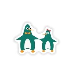 Stylish paper sticker on white background penguins vector