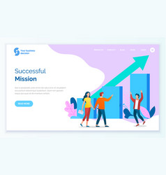 Successful mission teamwork website web page vector