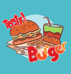 Tasty burger banner design vector