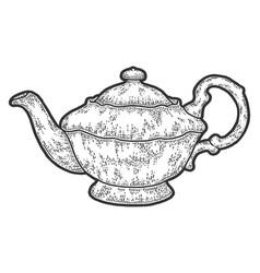 Teapot vintage sketch scratch board imitation vector
