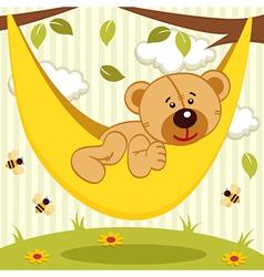Teddy bear on hammock vector
