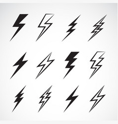 thunder lightning flat icons set on white vector image