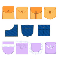 Types of pockets with flap denim ruffle vector