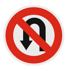 Uturn prohibited icon flat style vector
