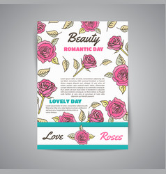 vertical poster template with roses vector image