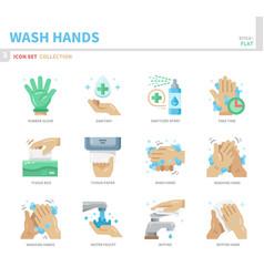 wash hands icon set vector image