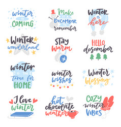 winter quote card text design logo vector image