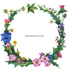 Wreaths from wild plants of scotland vector
