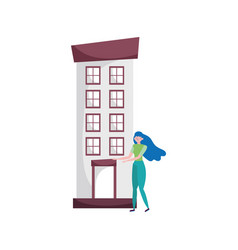 Young woman standing front building urban vector