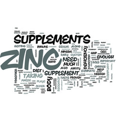 Zinc supplements for your body text word cloud vector