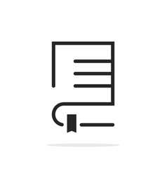 black linear book logo with bookmark vector image