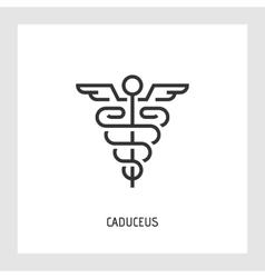 Caduceus icon Thin line sign vector image