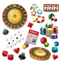 Casino symbols set composition poster vector image vector image