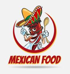 mexican food emblem vector image vector image