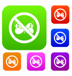 no butterfly sign set collection vector image vector image