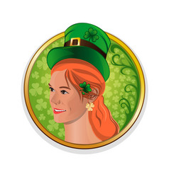 pretty red-haired girl in a green leprechaun hat vector image