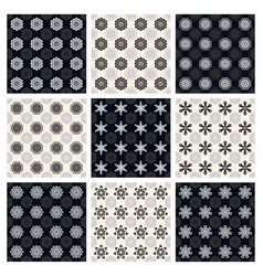 set of black and white seamless patterns vector image vector image