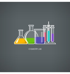 Beakers and Test-tube vector image