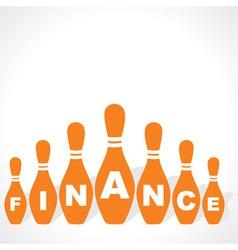 bowling pins make finance word vector image vector image