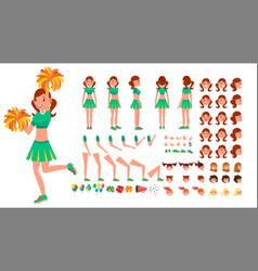 cheerleader girl animated character vector image vector image