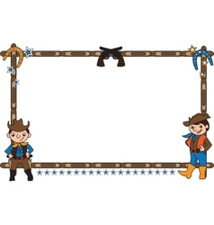 Frame with cowboys vector image